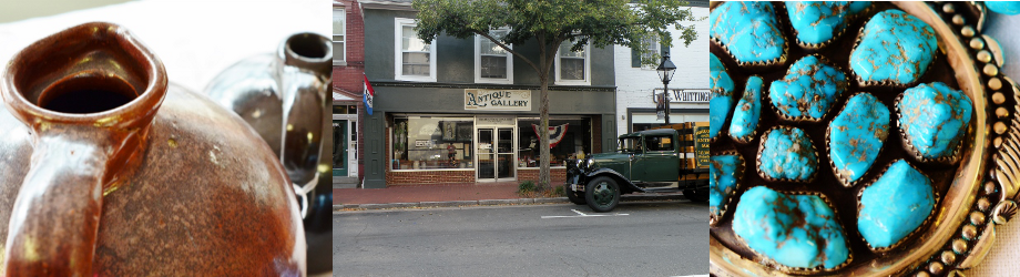 This is a collage of images associated with the Fredericksburg Antique Gallery in Fredericksburg, VA.