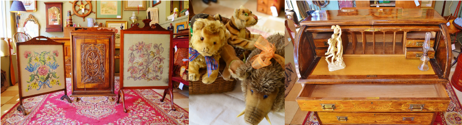 This is a collage of antiques for sale at the Fredericksburg Antique Gallery in Fredericksburg, VA.